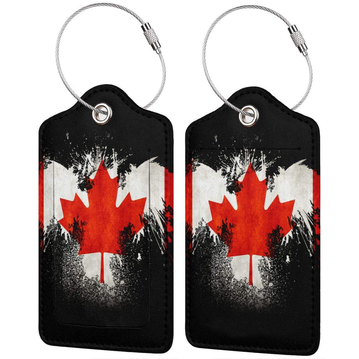 GoldK Canadian Eagle Leather Luggage Tags Baggage Bag Instrument Tag Travel Labels Accessories with Privacy Cover
