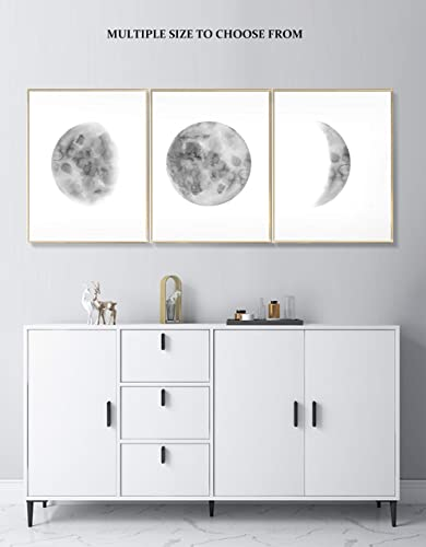 Moon Phases Wall Art Print, Moon Phases Poster, Bedroom Wall Decor, Moon  Phases Print Set, 3 Piece Wall Art, Black Grey Moon Phases, Multiple ...