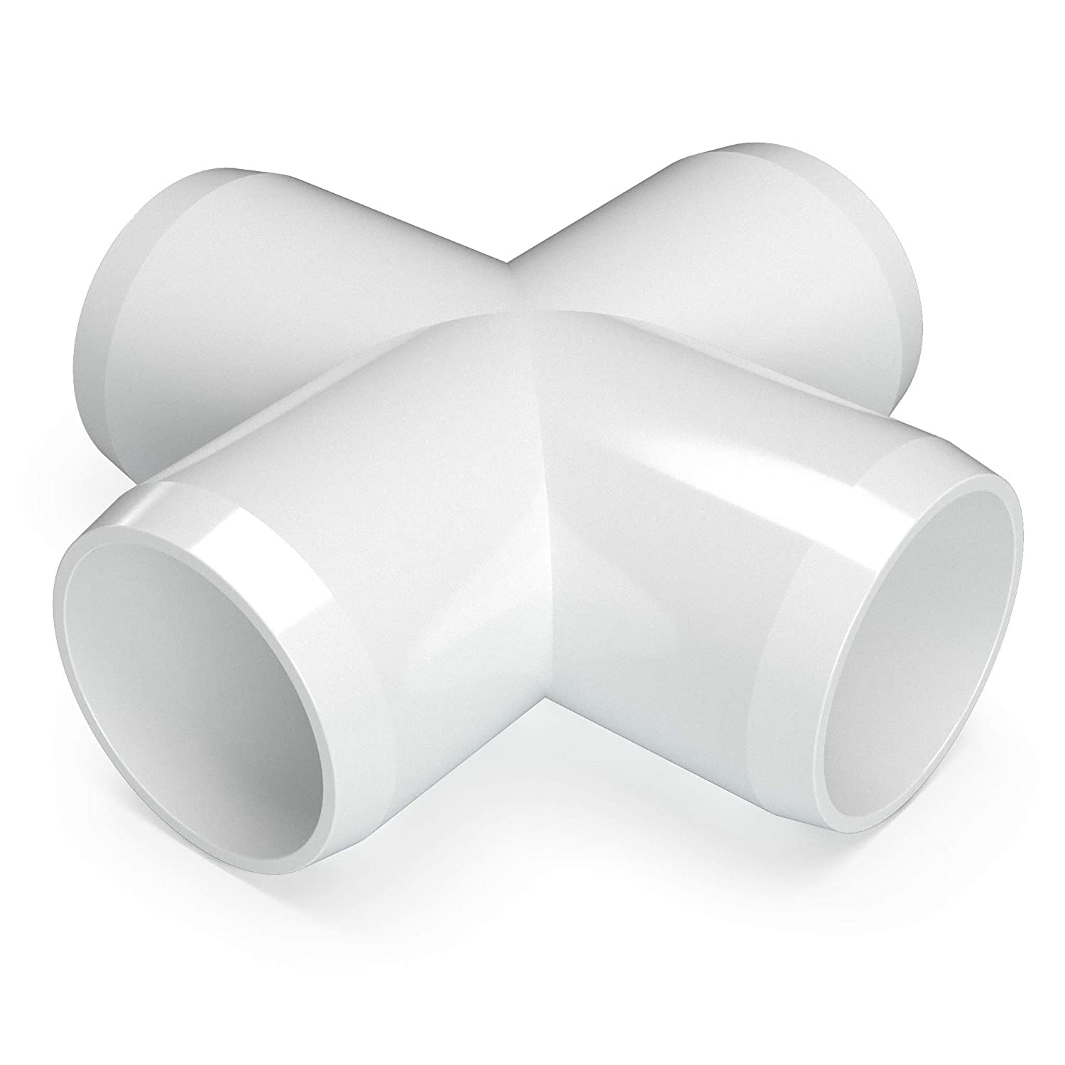 "FORMUFIT F001CRX-WH-4 Cross PVC Fitting, Furniture Grade, 1"" Size, White (Pack of 4)"