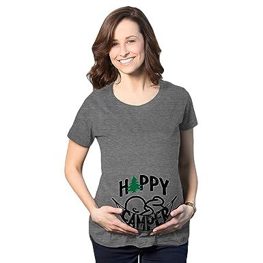 1ddbf4931 Maternity Happy Camper Tshirt Cute Pregnancy Cool Outdoors Baby Bump Tee  (Heather Grey) -