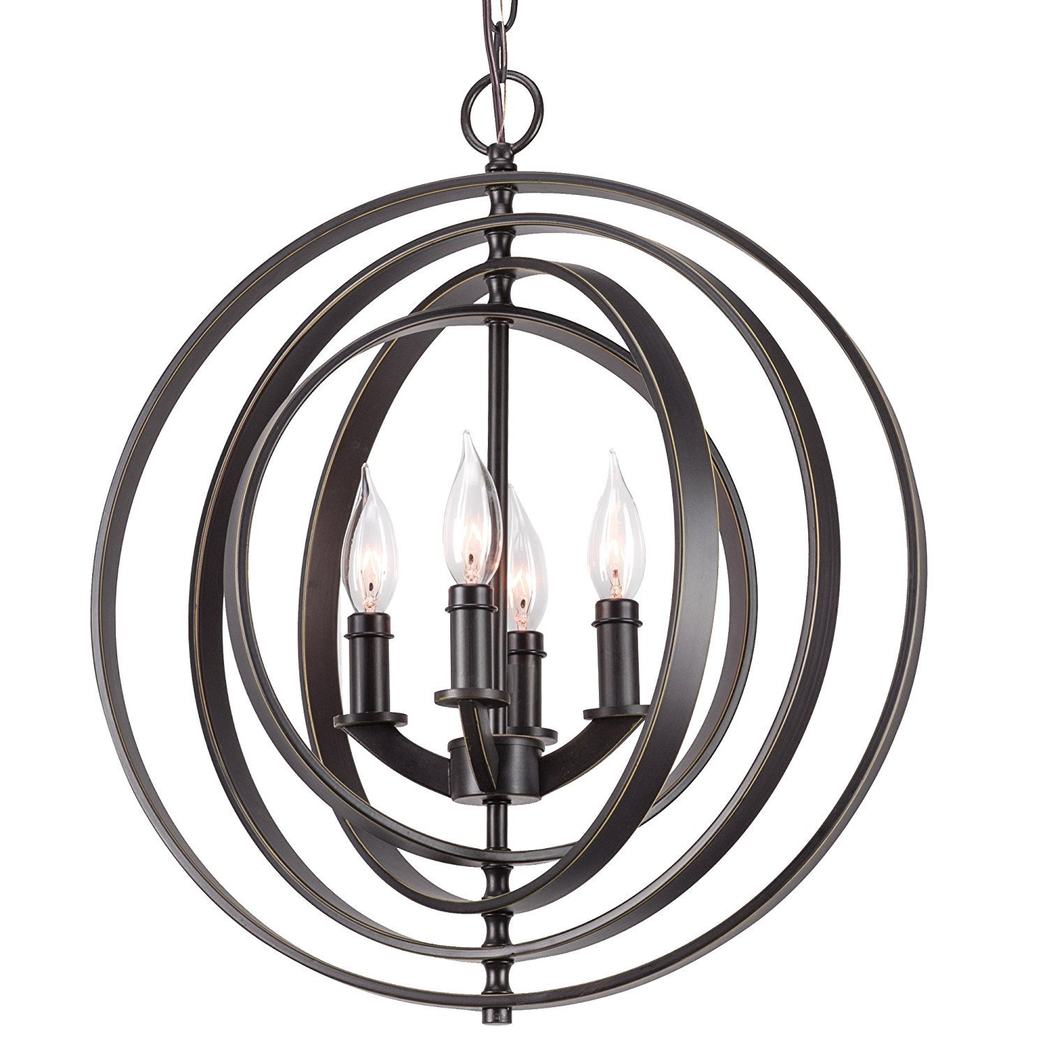 Kira Home Orbits 18'' 4-Light Modern Sphere/Orb Chandelier, Bronze Finish