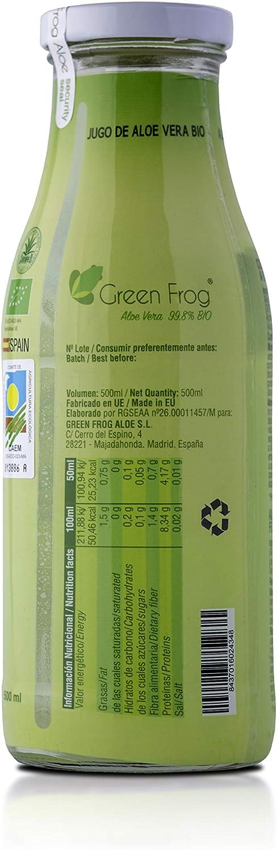 Green Frog Jugo de Aloe Vera Bio con Pulpa, Pack de 1 Botella, 1x500 ml: Amazon.es: Alimentación y bebidas