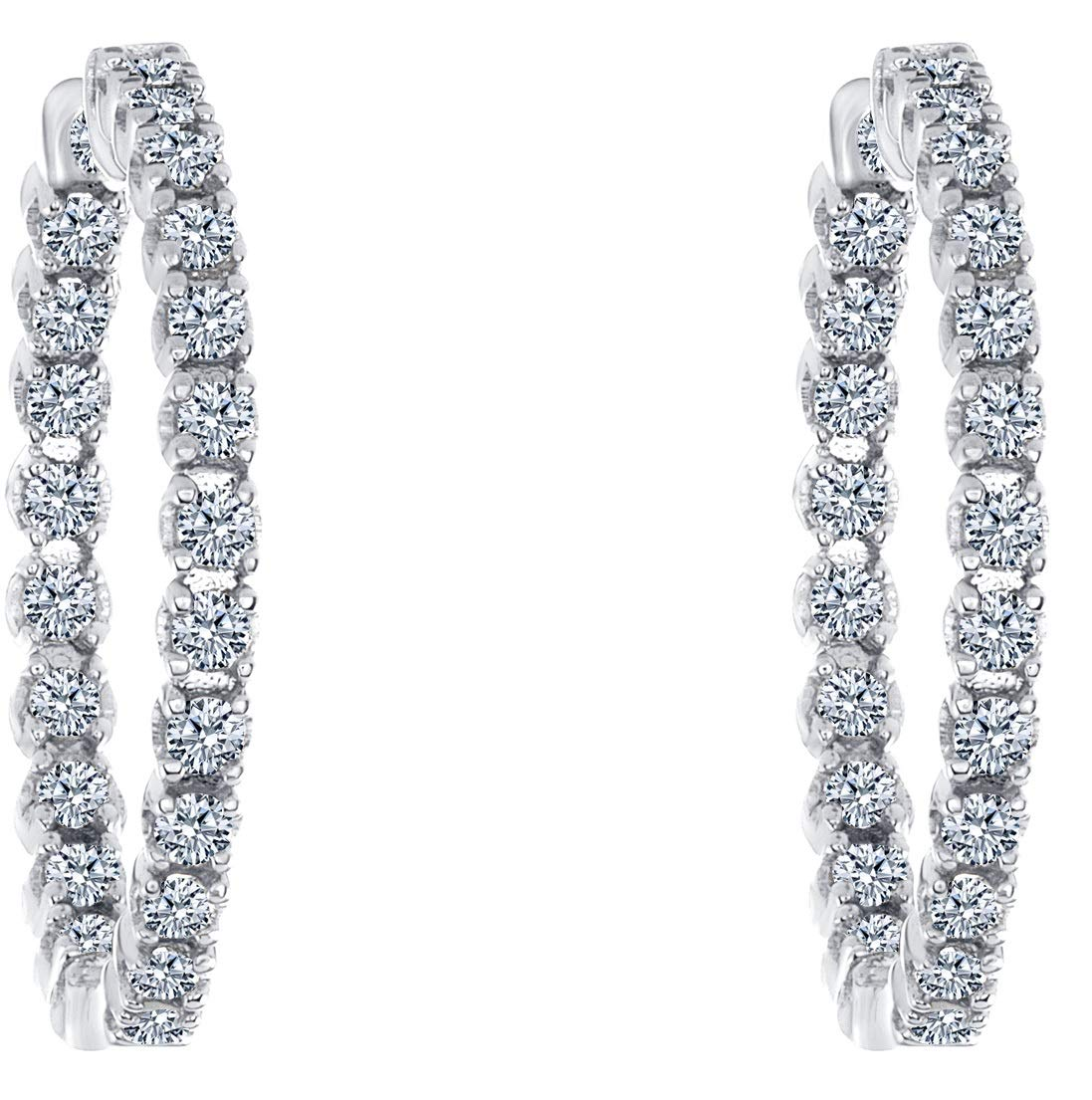 Beverly Hills Jewelers 1.00 Carat T.w. Beautiful Inside-Out Hoop Earring Top Shine, Real Natural White Diamond, Round Brilliant Cut, Set in White Gold, Secure Clasp Lock