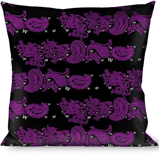 Multicolor Buckle Down Paisley Stars Black//Purple//White Throw Pillow