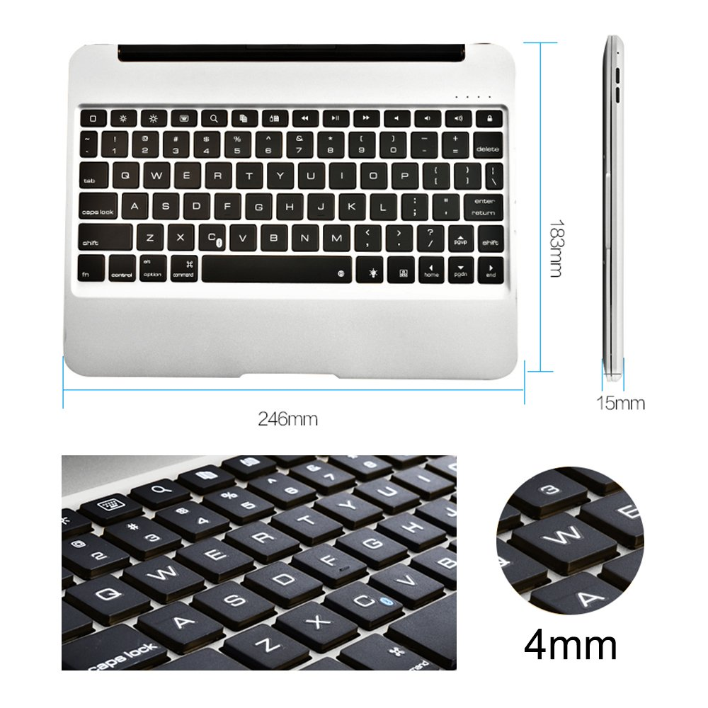 MOSTOP iPad Air 2 iPad Pro 9.7-inch Keyboard Bluetooth 7-color LED Backlit Slim Aluminum Wireless Keypad with Built-in 2800mAh Power Bank for iPad Air 2/iPad Pro 9.7-inch (Silver) by MOSTOP (Image #6)