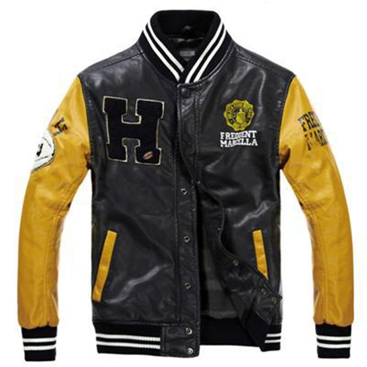 ... Leather Jacket College Style Jaqueta Couro Mens PU Leather Jacket Street Skate Jacket Autumn Winter Coat yellow blackXL at Amazon Mens Clothing store: