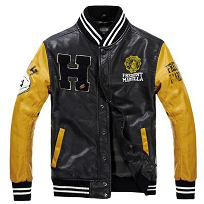 Vazpue Suits Bomber Leather Jacket College Style Jaqueta Couro Mens PU Leather Jacket Street Skate Jacket Autumn Winter Coat yellow blackXL at Amazon Mens ...