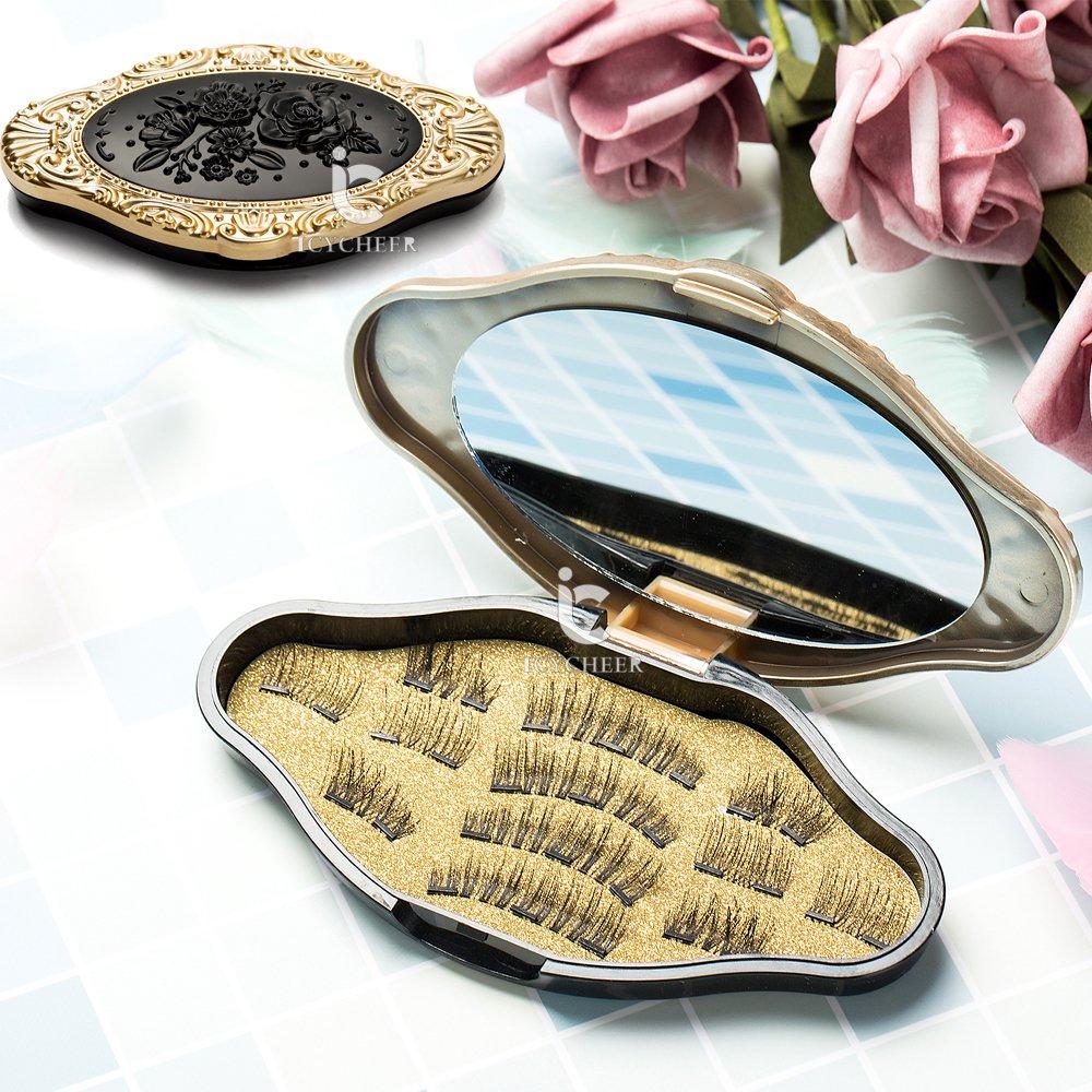 ICYCHEER - Pestañas postizas magnéticas de maquillaje (3 pares/12 piezas) doble imán, 3D, ultra finas, reutilizables, cobertura total, pestañas naturales hechas a mano sin pegamento