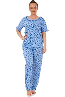 UK Womens Floral Print Cap Sleeve Top Bottom Pyjama Set Cotton PJ/'s Nightwear