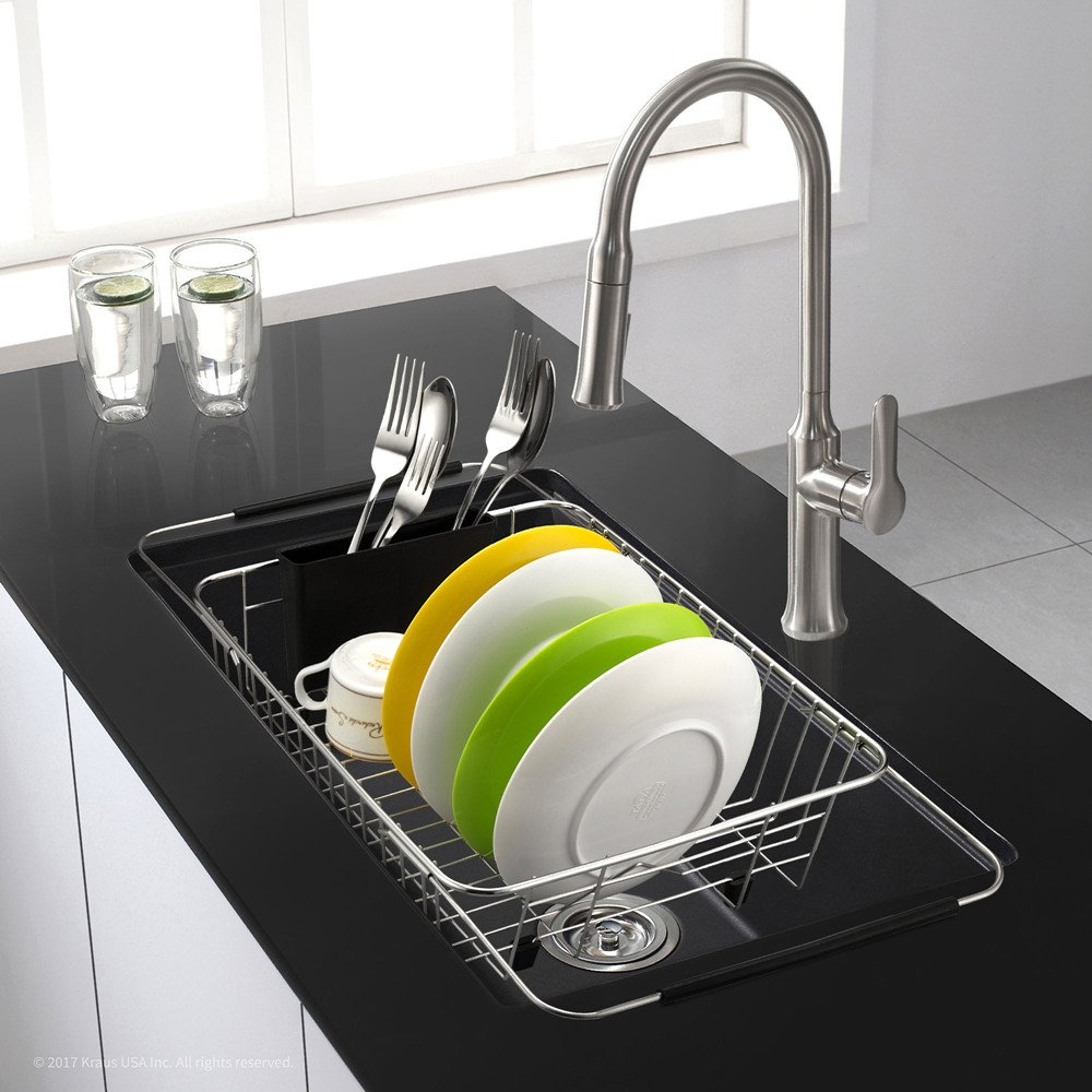 SANNO Expandable Dish drying Rack,Over the Sink Adjustable Dish Drainer,Dish Rack In Sink or On Counter with Utensil Silverware Storage Holder, Rustproof Stainless Steel by SANNO (Image #8)