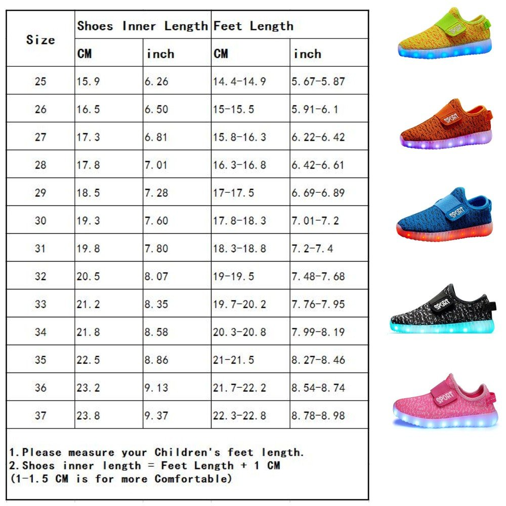 Losver Kid Boy Girl Upgraded USB Charging LED Light Sport Shoes Flashing Sneakers