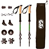 Hiker Hunger Outfitters Carbon Fiber Trekking Poles –Ultralight & Collapsible with Quick Flip-Locks,Cork Grips,Tungsten Tips,