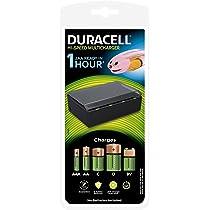 Duracell Cef22 - Cargador múltiple de alta velocidad para pilas AA, AAA, C, D y 9 V