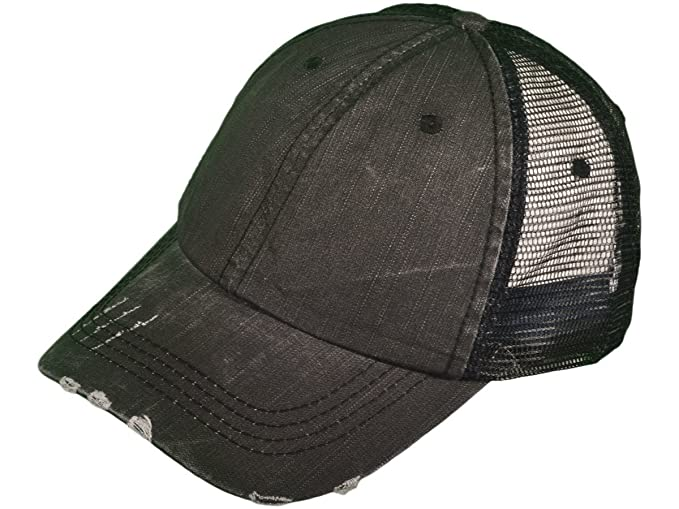Buck Caps Unisex Unstructured Special Washed Distressed Mesh Trucker Cap ( Black) 108cc3f0cfbc