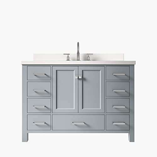 DKB Beckford Series 49″ inch Bathroom Vanity In Grey | Pure White Quartz Countertop | 2 Soft Closing Doors | 9 Full Extension Dovetail Drawers | Rectangle Sink |No Mirror