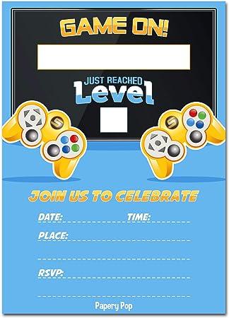 Amazon.com: Invitaciones para fiesta de videojuegos con ...