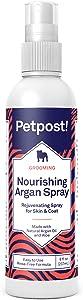 Petpost   Waterless Argan Shampoo Spray for Dogs with Sensitive Skin - Naturally Nourishing Coat Cleaner & Deodorizer for Healthier, Shinier Fur - Rinse Free Formula