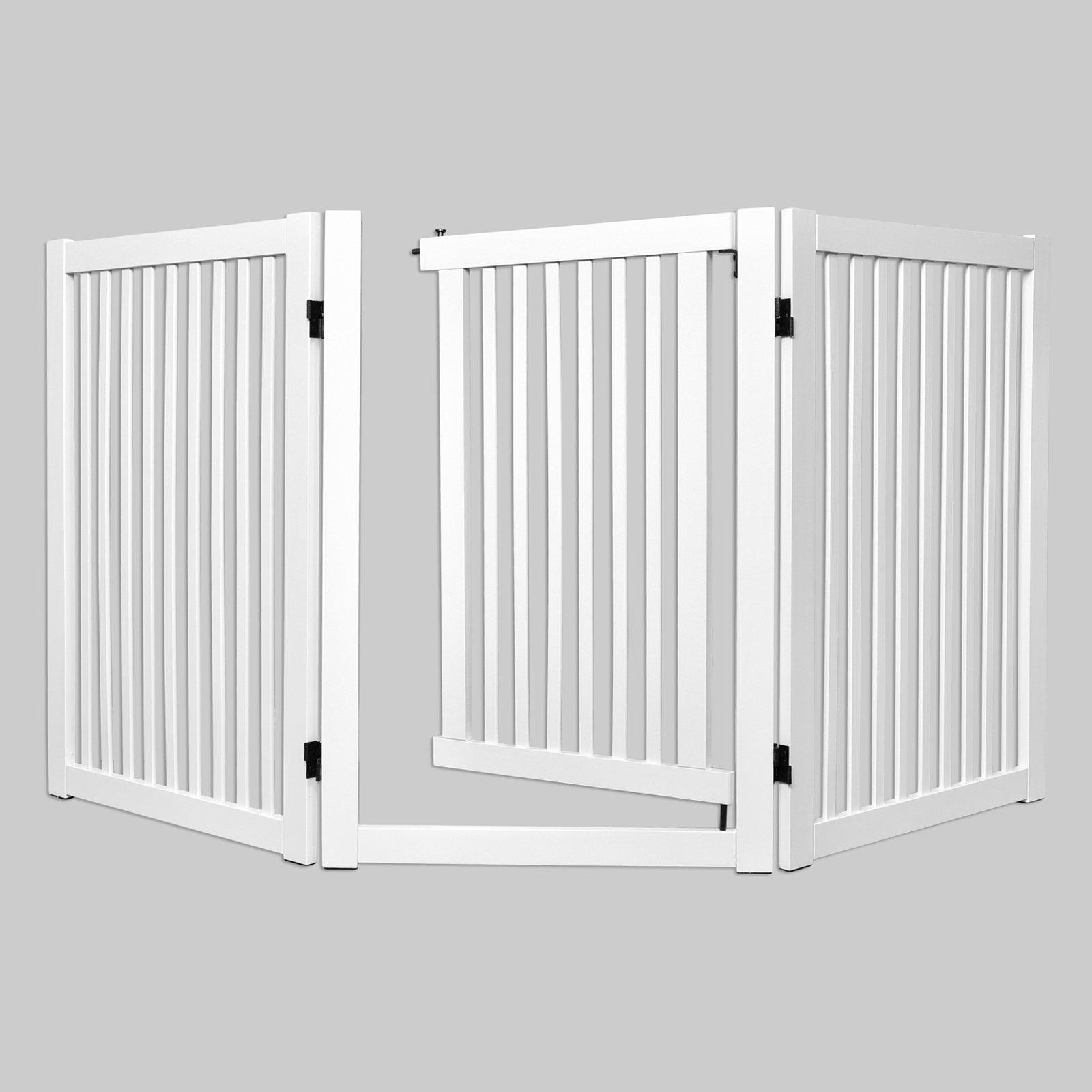 WELLAND Freestanding Wood Pet Gate with Walk Through Door, 66-Inch, White