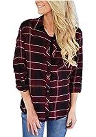 roswear Women's Casual Loose Cuffed Sleeve Plaid Button Down Shirt