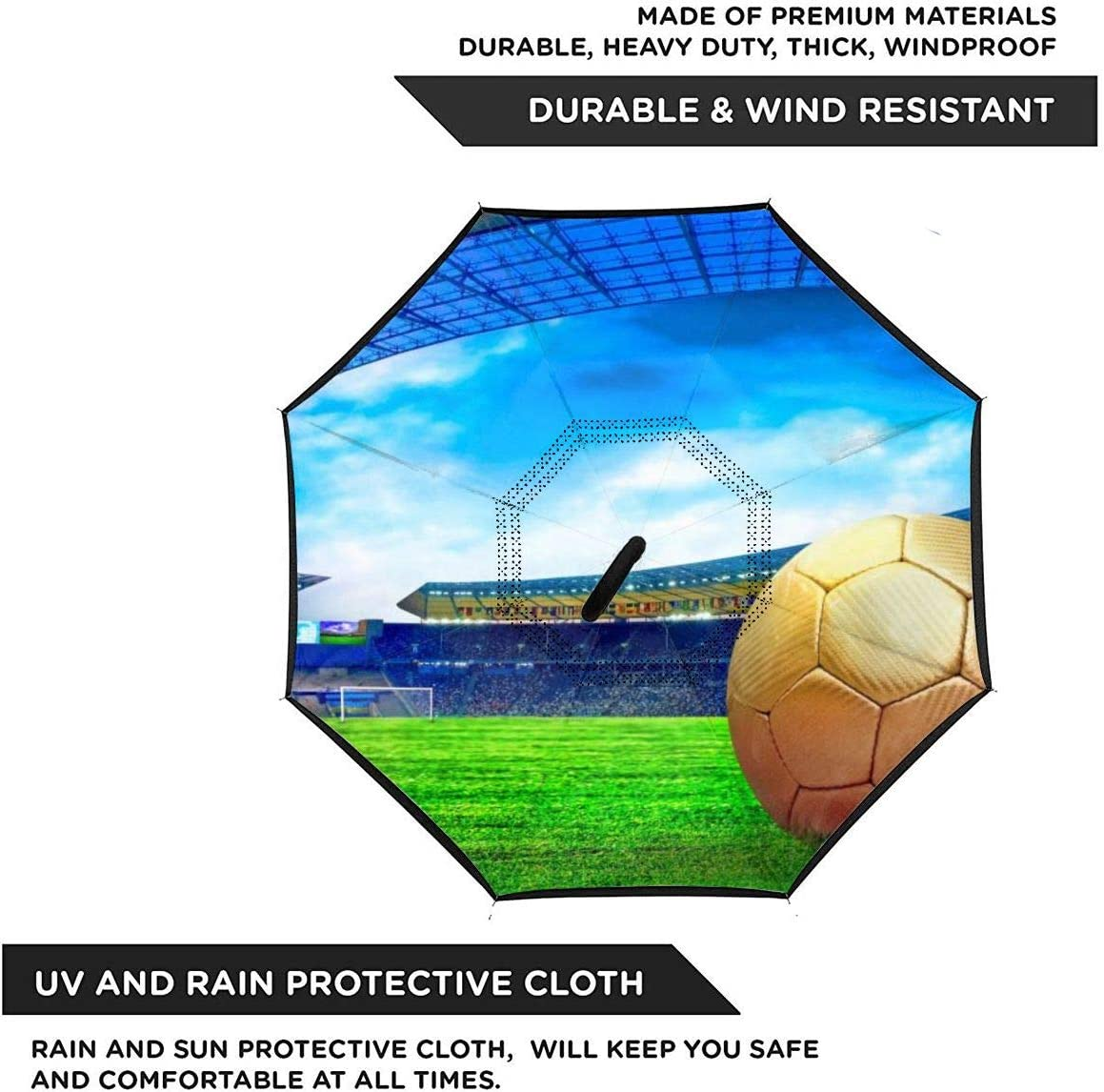 Folding Reverse Umbrella for Car Rain Outdoor Self Stand Upside Down with C-Shaped Handle PYFXSALA Football /& Stadium Wallpapers Windproof Inverted Umbrella Double Layer UV Protection