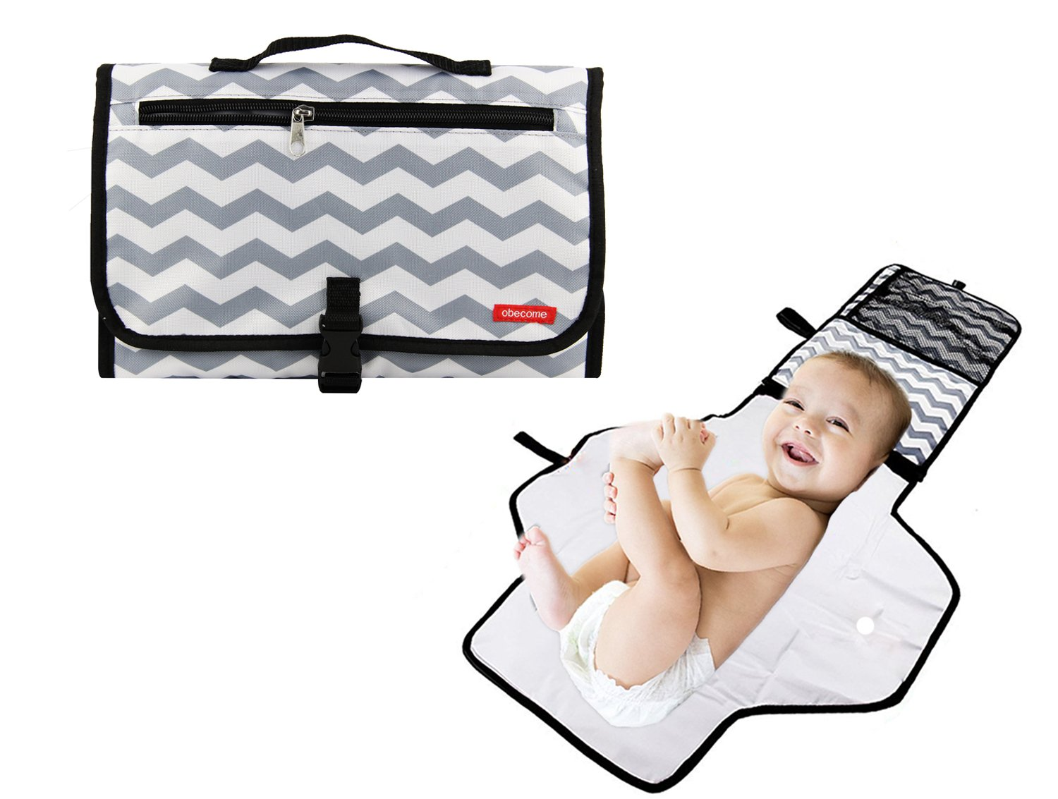 Obecome Portable Waterproof Baby Diaper Changing Pad Kit, Travel Home Change Mat Organizer Bag for Toddlers Infants and Newborns by Obecome