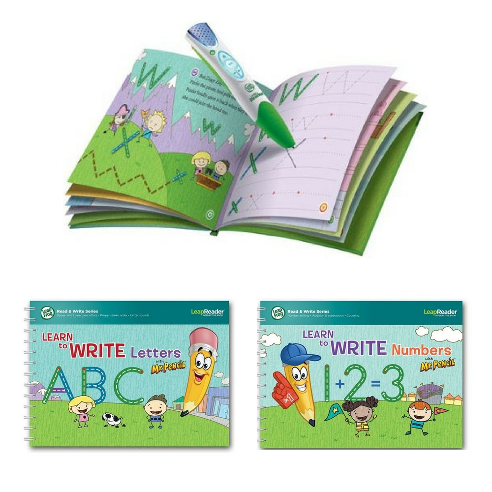 LeapFrog LeapReader Reading and Writing System Green & LeapReader Deluxe Writing Workbooks Bundle: Learn to Write Letters and Numbers with Mr. Pencil, Educational Activity Gift Set For Kids 4-8 Years