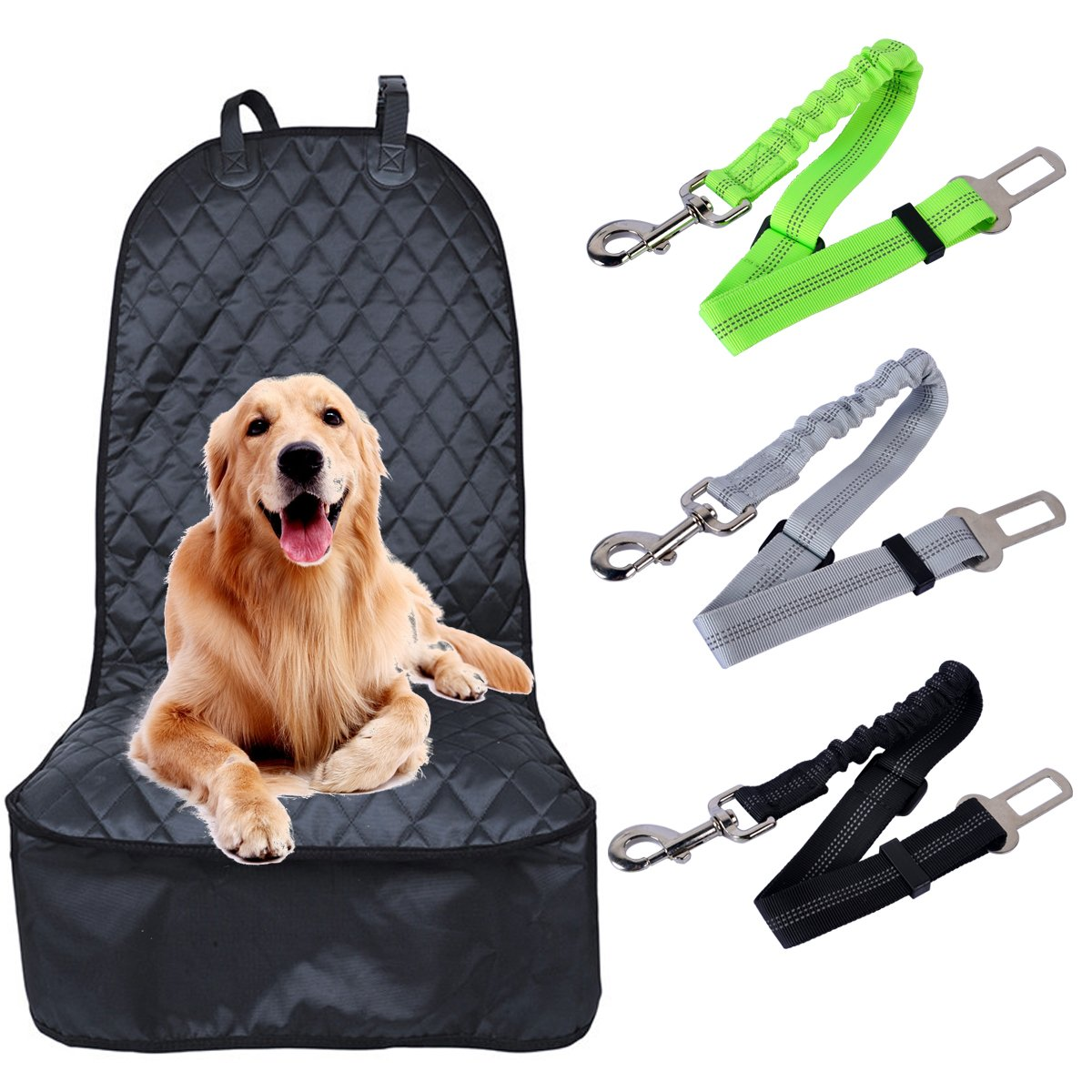AutoEC Paw Pet Front Seat Cover, Dog Seat Protector, Waterproof Passenger Auto Seat Covers with 3 Pet Safety Seat Belts Adjustable for Cars, Trucks and SUV