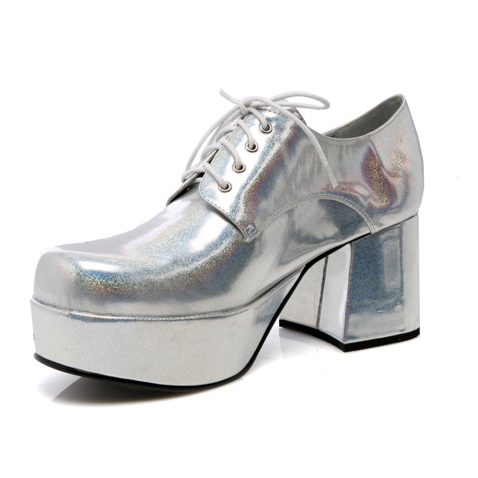 Mens Silver Platform 3'' Heel Halloween Shoes Small 8-9