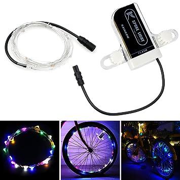 Mystery 20LED Luces para Ruedas Bicicleta Impermeable Luces USB Colorido para Radios de Bici Accesorios para