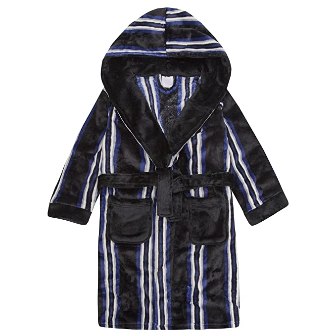 4Kidz Childrens Boys Striped Dressing Gown - Flannel Fleece Hooded ...