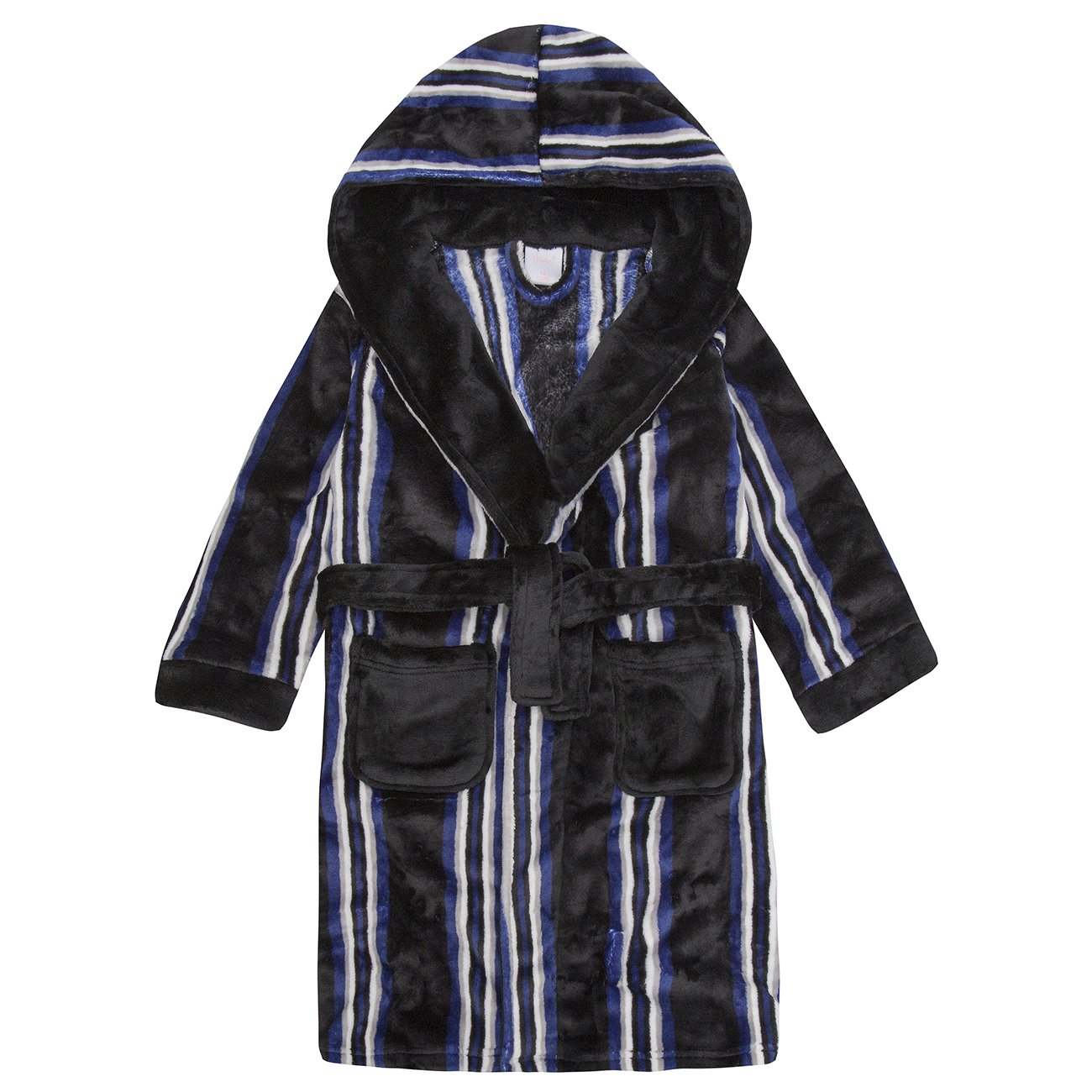 4Kidz Childrens Boys Striped Dressing Gown - Flannel Fleece Hooded Night Robe Black 13