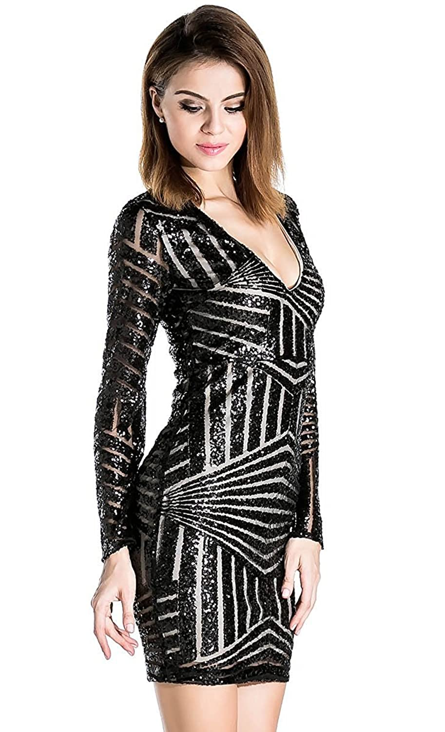 Amazon.com: Missord Women's V Neck Long Sleeve Sequined Cocktail ...