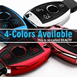 Uxinuo for Mercedes Benz Key Fob Cover Case Premium Soft TPU Full Protection Key Fob Shell Compatible with Mercedes Benz A B C E S R M G Class Smart Remote, Red