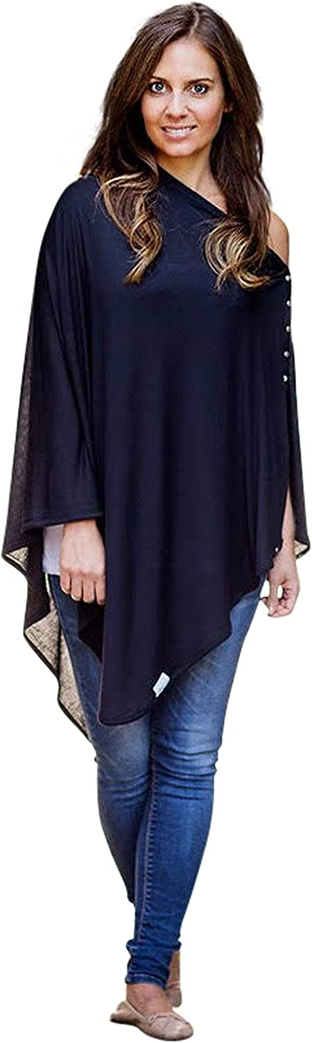 Buttoned Multi-Use Breastfeeding Shawl Navy 100/% Viscose. Pram or Car Seat Cover Breastfeeding Cover Up Poncho Scarf Byrd /& Blume Nursing Cover Up Wrap