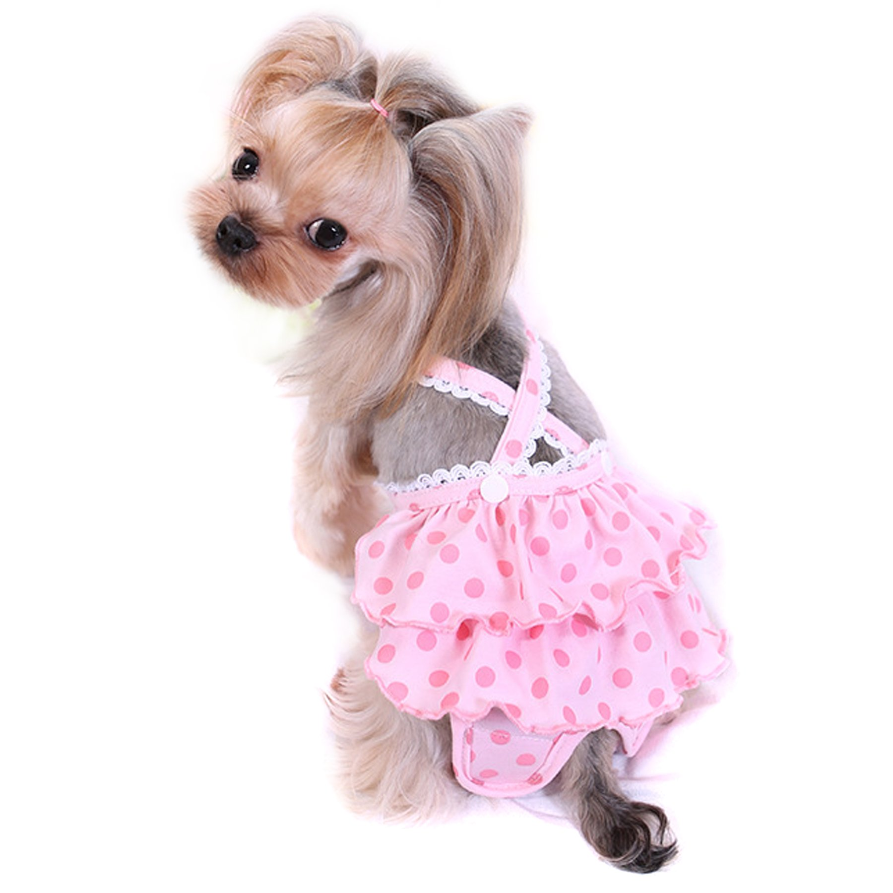 Alfie Pet by Petoga Couture - Frona Diaper Dog Sanitary Pantie with Suspender for Girl Dogs - Color: Pink, Size: Small