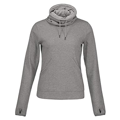 Helzkor Women s Long Sleeve Fleece Lined Pullover Cowl Neck Casual  Sweatshirt with Thumbholes and Pockets Gray a1157c8906