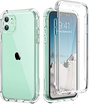 SURITCH Coque iPhone 11 360 Degré Transparente Antichoc Silicone Bumper [Ultra Hybrid] Integrale Anti-Rayures Full Body Protection Etui Housse pour ...