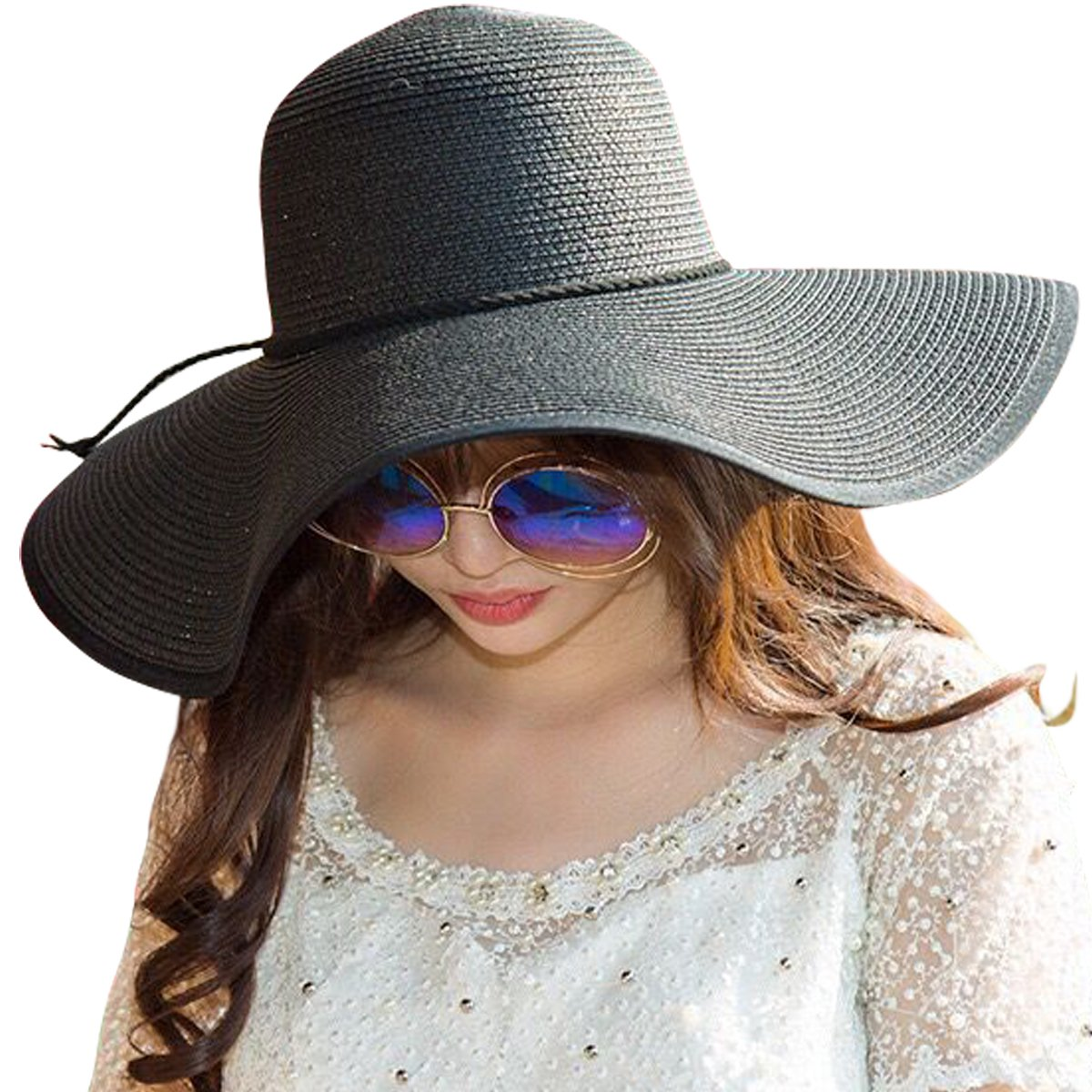 8fafcb9acaa6c7 Home / Clothing, Shoes and Jewelry / JOYEBUY Women Big Bowknot Straw Hat  Floppy Foldable Roll up UV Protection Beach Cap Sun Hat