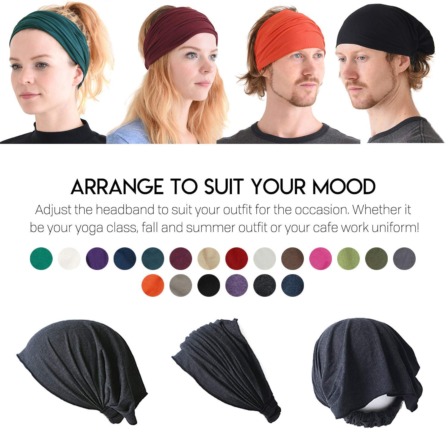 Black Japanese Bandana Headbands for Men and Women – Comfortable Head Bands with Elastic Secure Snug Fit Ideal Runners Fitness Sports Football Tennis Stylish Lightweight M by CCHARM (Image #10)