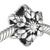 Cristal Flocon de neige de Noël Charm en argent sterling 925massif avec boîte cadeau pour bracelets à breloques