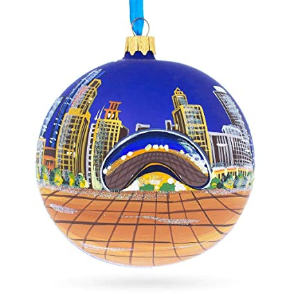 Chicago Bean Glass Ball Christmas Ornament 4 Inches