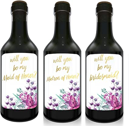 12 Will You Be My Bridesmaid Stickers or Wine Bottle Labels Bridal Party Maid of Honor Proposal Ideas Ask Your Bridesmaids to Be in Wedding Presents Perfect Wedding Gift for Bridesmaids or Maid