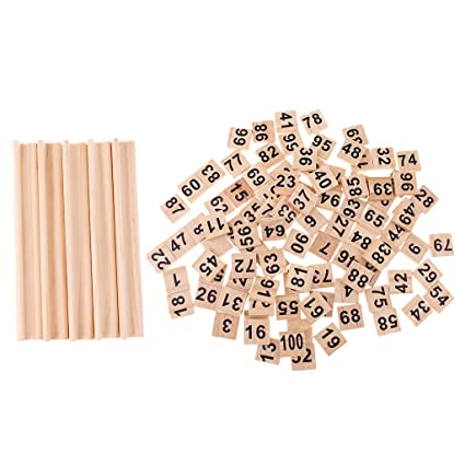 Sharplace 100 Unids Número de Madera Azulejos Letras Negras Cubo Bloques + 5pcs Tejas de Madera