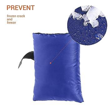 Surenhap 2 Piezas Cubierta Protectora de Grifo Exterior Bolsa de Invierno y Cubierta Interior Resistente a la Intemperie Azul anticongelante