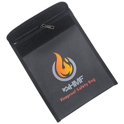 HMF 44145 Bolsa ignífugo para documentos con cremallera | 23 x 18 cm | DIN A5 | Negro