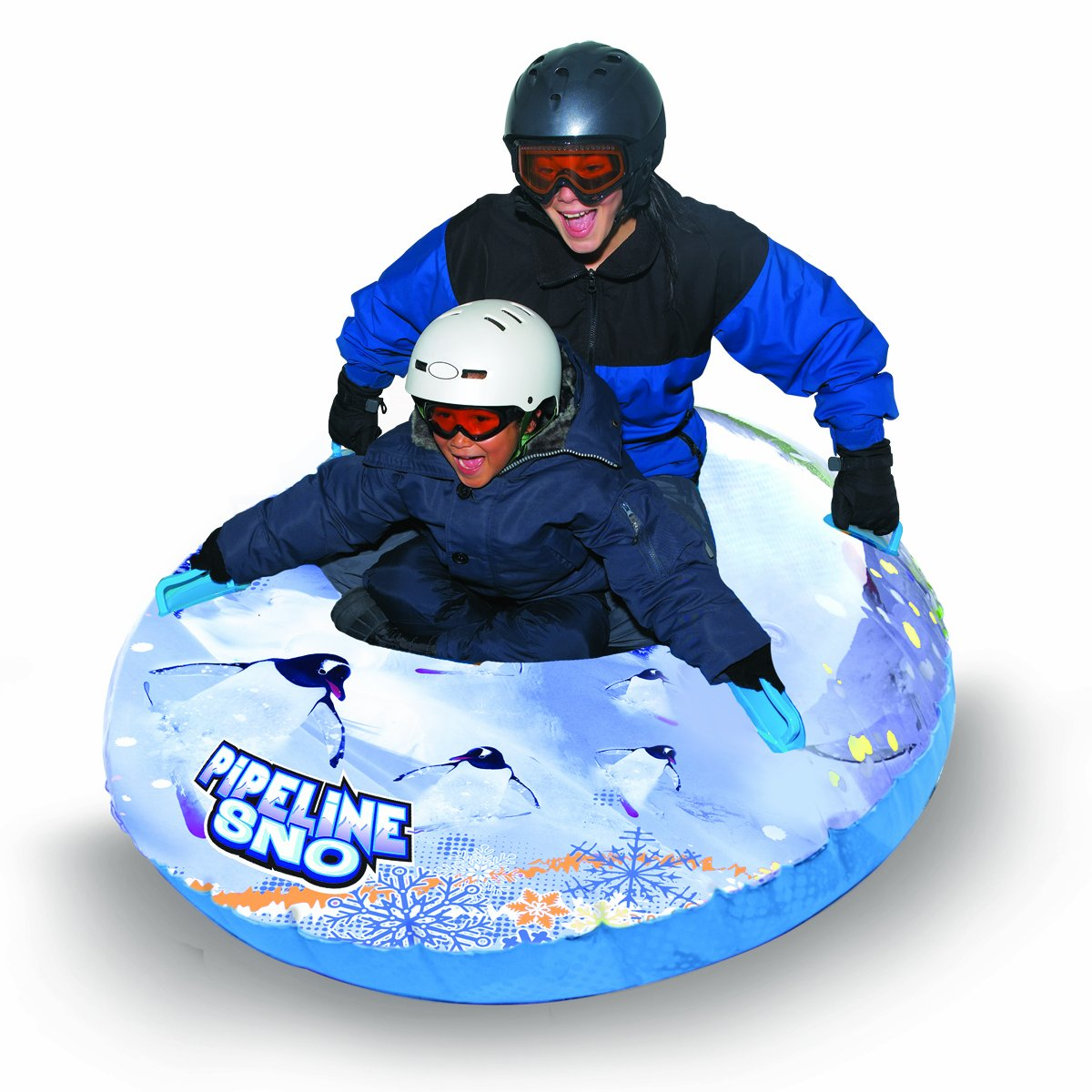 Pipeline Sno Penguin Inflatable Snow Tube, 50'' Diameter, Clear/White/Blue
