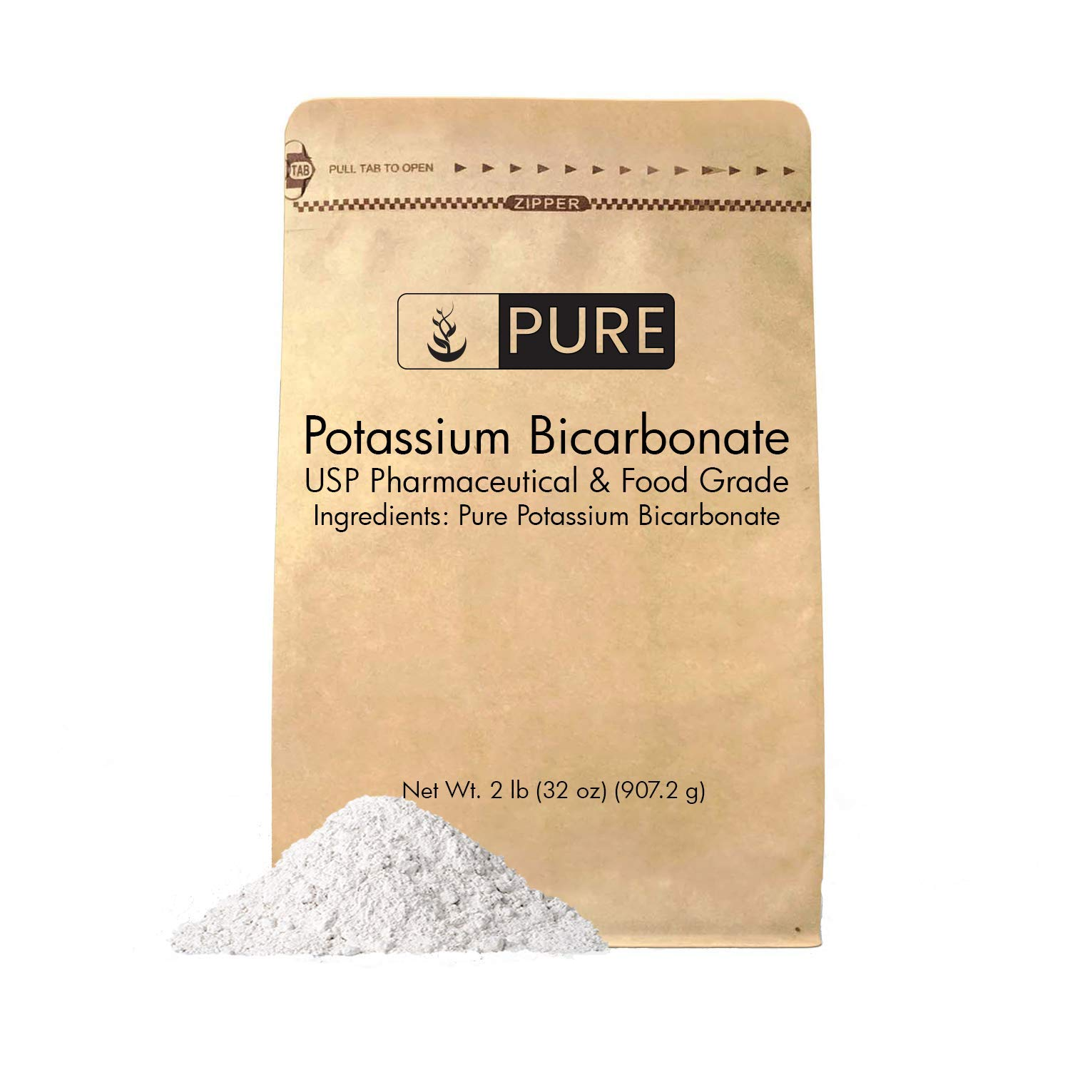 Potassium Bicarbonate ( 2 lb.) by Pure Organic Ingredients, Natural, Highest Purity, Food Grade