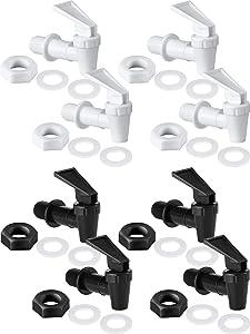 8 Sets BPA Free Replacement Cooler Faucet Water Bottle Jug Reusable Spigot Spout Water Beverage Lever Pour Dispenser Valve Water Crock Water Tap (4 White and 4 Black)