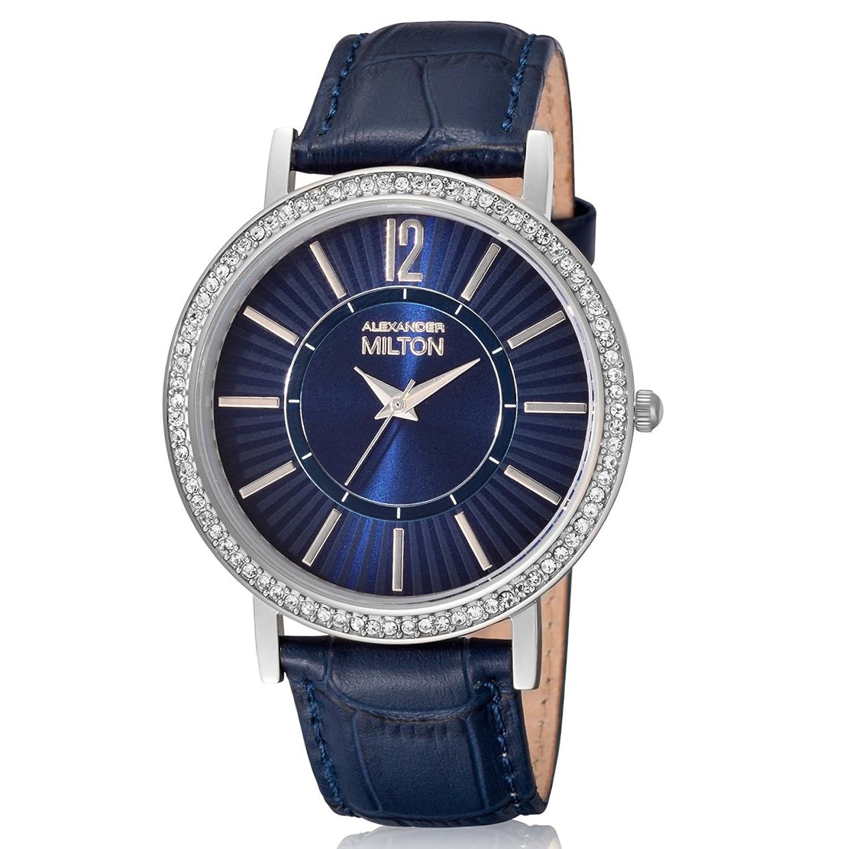 ALEXANDER MILTON Damenuhr - Edelstahl - Modell DIANA - blau-silber