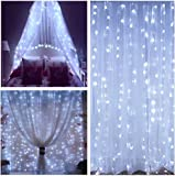 LIGHTESS 600 LED Christmas String Fairy Outdoor or Indoor Curtain Lights Cold White